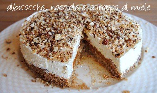 Torta allo yogurt  con albicocche, granella di nocciole e sciroppo al miele e vaniglia