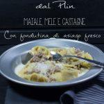 Raviole del Plin con maiale, mele e castagne su fondutina di asiago fresco
