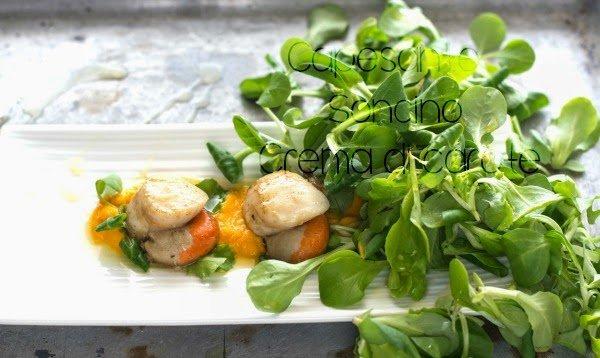 Crema di carote alle capesante con insalata di soncino for Soncino insalata