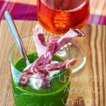 Gazpacho verde al cetriolo e sedano con Capocollo di Calabria piccante Dop, fresco ma non troppo.
