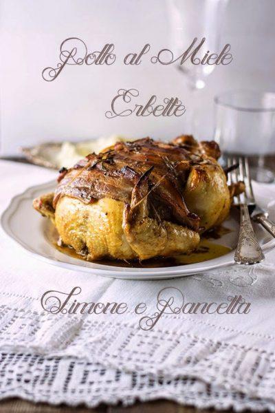 Pollo al miele, erbette, limone e pancetta, con purè di cavolfiore