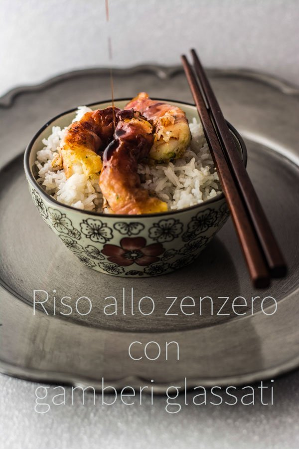 riso zenzero gamberi glassati