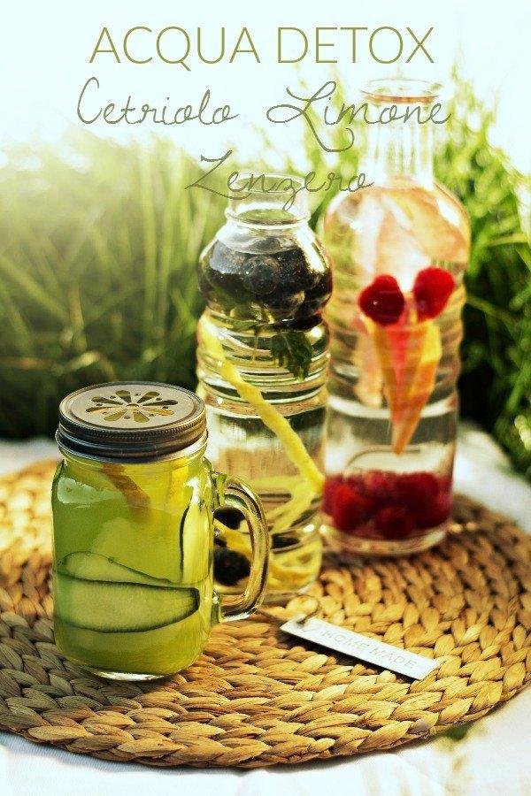 Acqua detox cetriolo, limone e zenzero