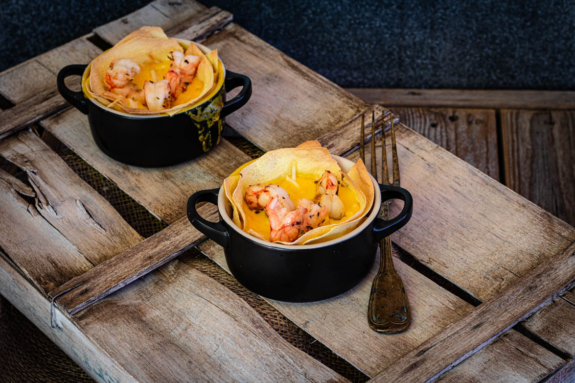 Lasagnetta monoporzione con zucca e gamberi